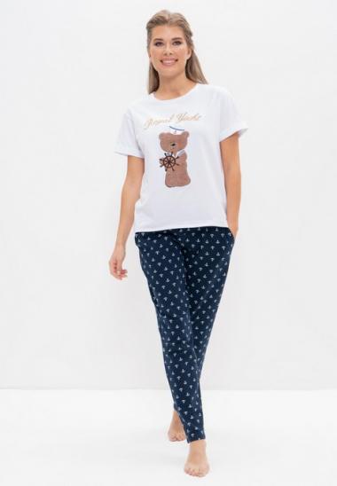 Пижама с брюками 986-1 белый с мишкой, Cleo