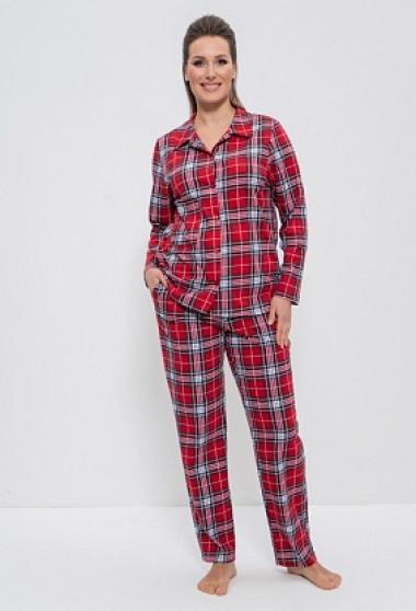 Пижама с брюками 959-красный/клетка, Cleo