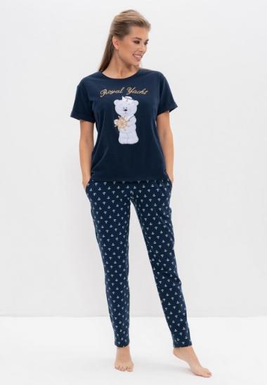 Пижама с брюками 986-2 белый с мишкой, Cleo