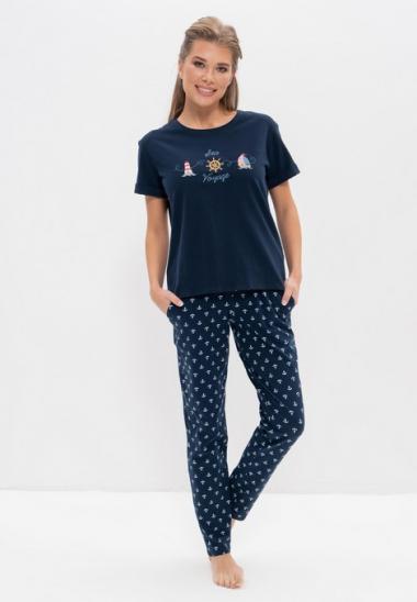 Пижама с брюками 986-3 белый с мишкой, Cleo