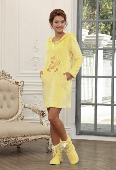 Теплое домашнее платье с капюшоном из велсофта 232